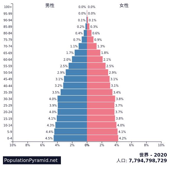 世界の人口ピラミッド